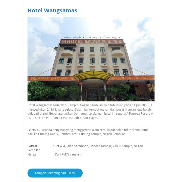 HOTEL WANGSA MAS TAMPIN, NEGERI SEMBILAN