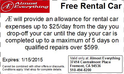 Coupon Free Rental Car December 2014