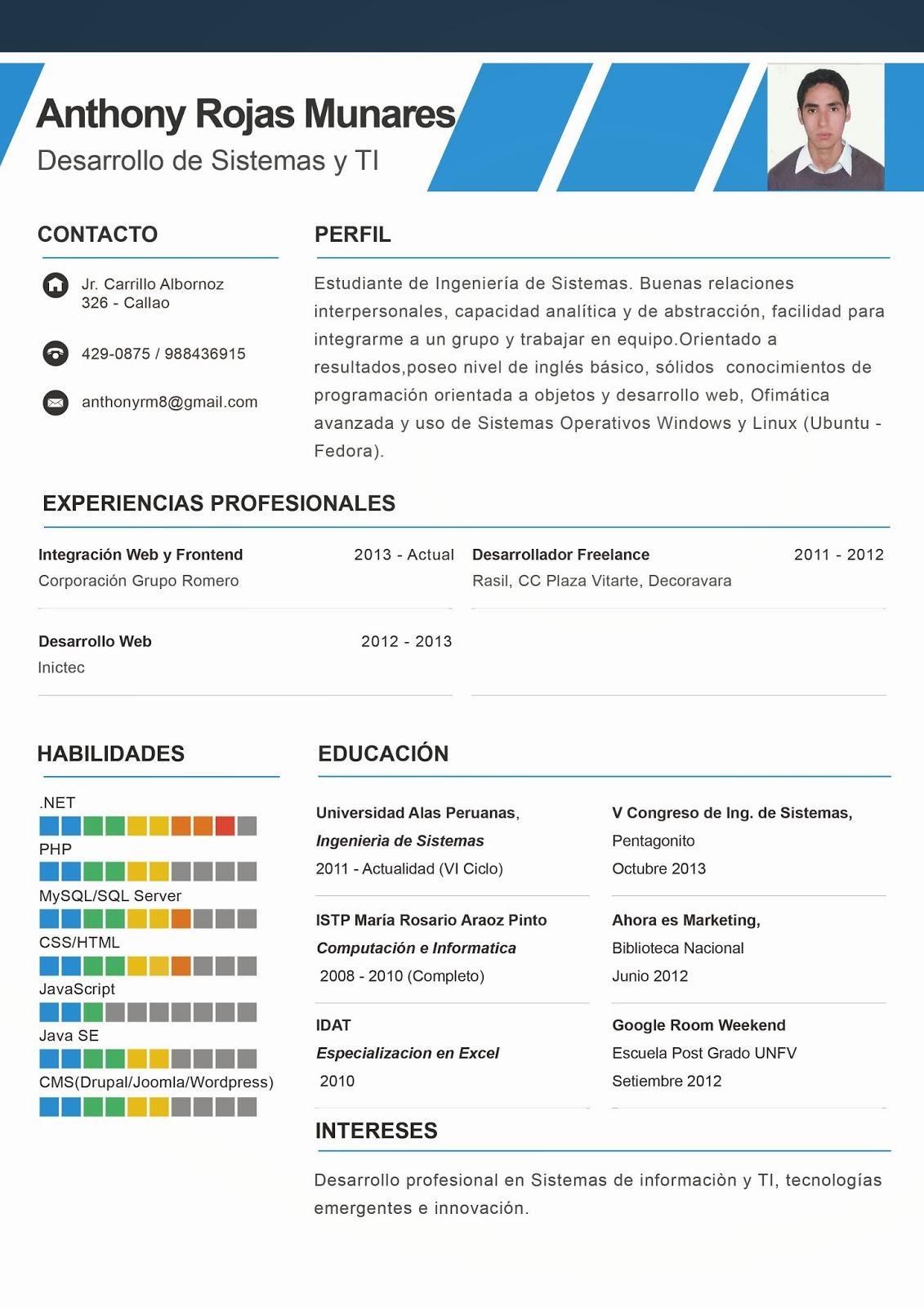 Anthony Rojas - Blog Personal: Carta de Presentación y Curriculum Vitae