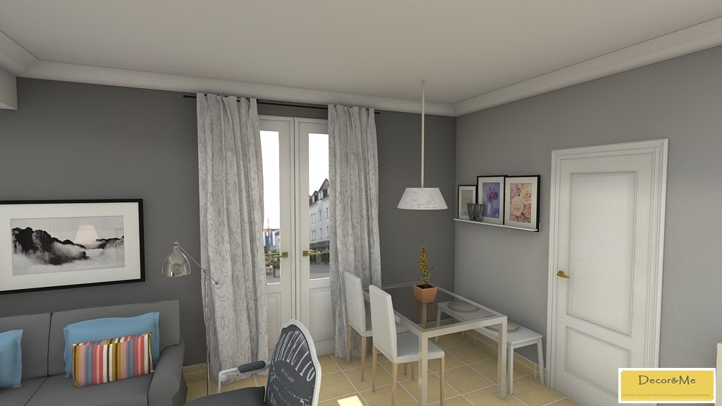Decor me proyecto de sal n y dormitorio de estilo actual for Salones pintados en gris