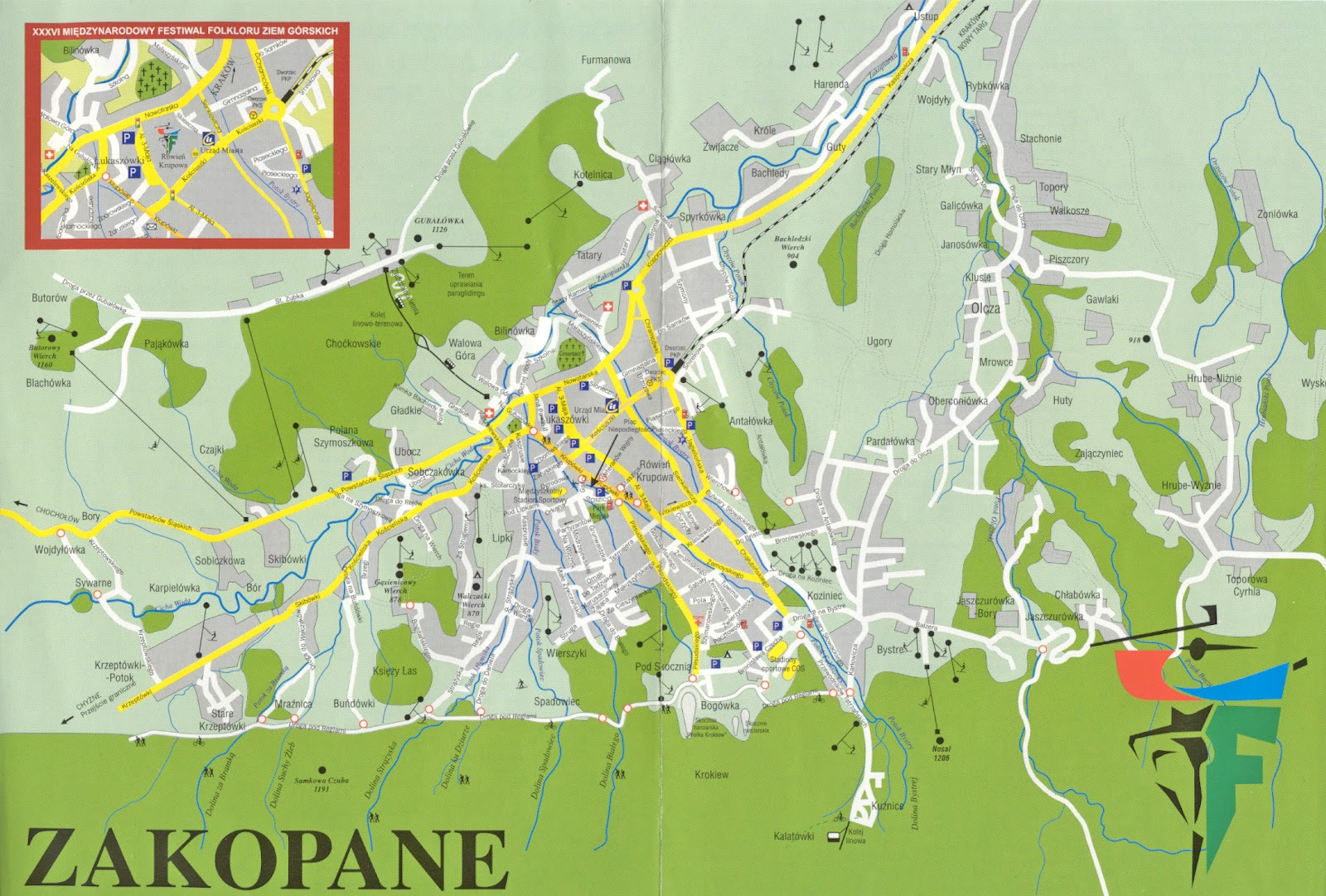Seoul tv channel: Map of Zakopane, Poland