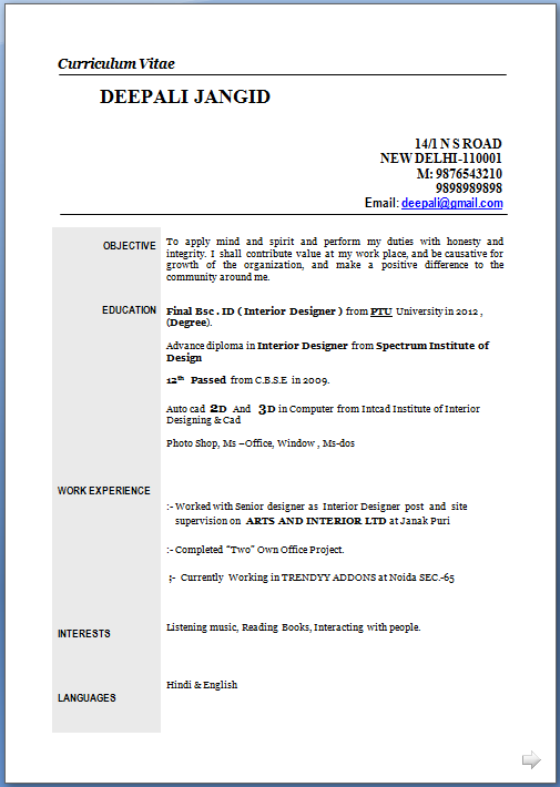 template resume word