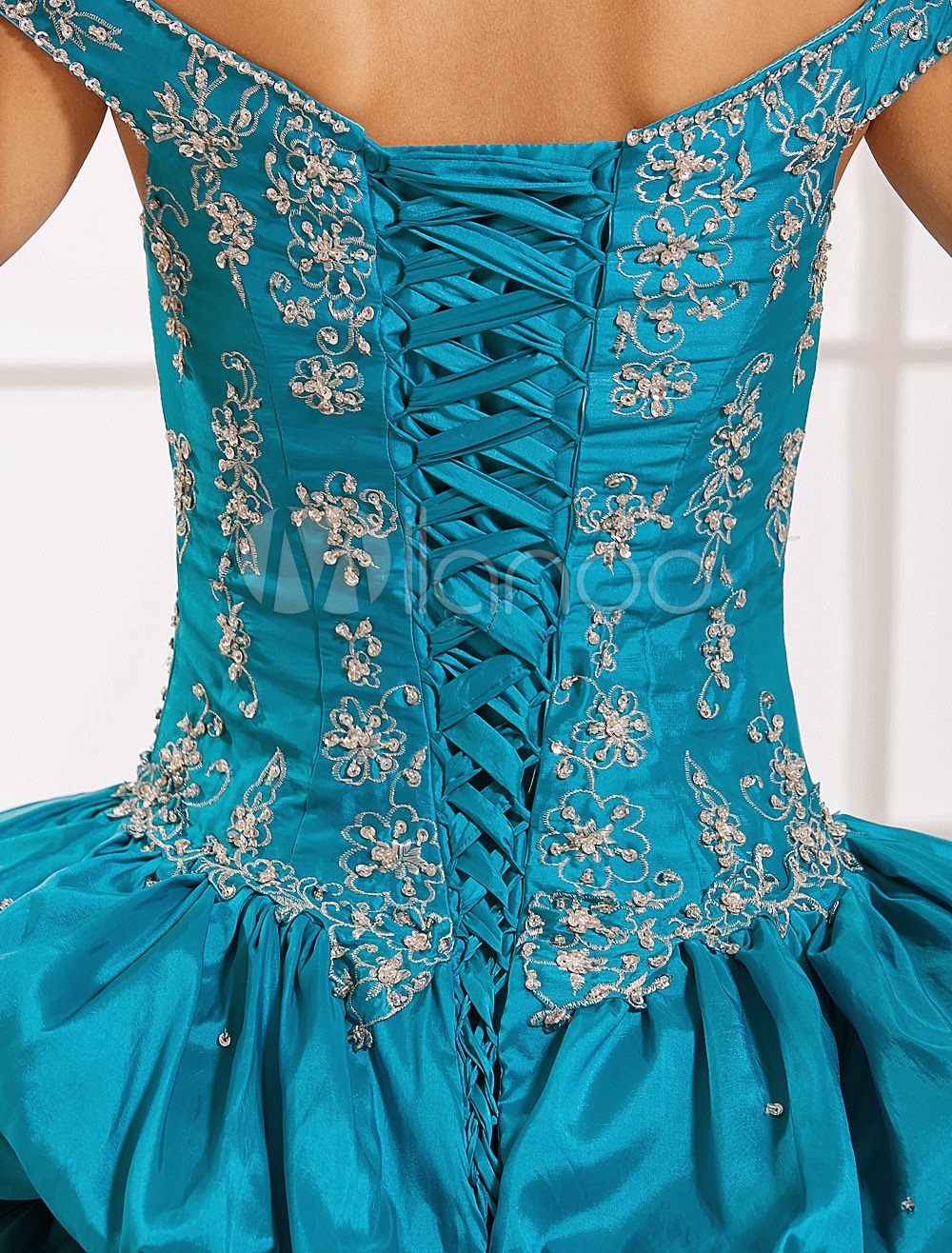 China Wholesale Dresses - Ball Gown Blue Taffeta Off-The-Shoulder Quinceanera Dress