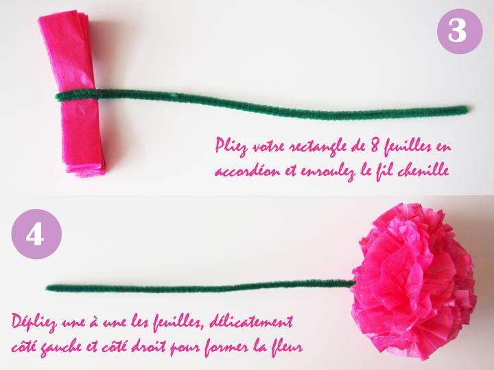 diy fleurs en papier de soie façon pompon