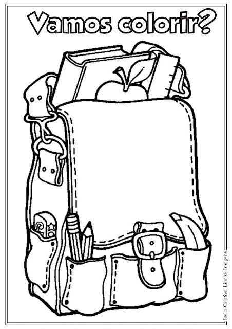 Desenho de Material Escolar para colorir - Volta às Aulas