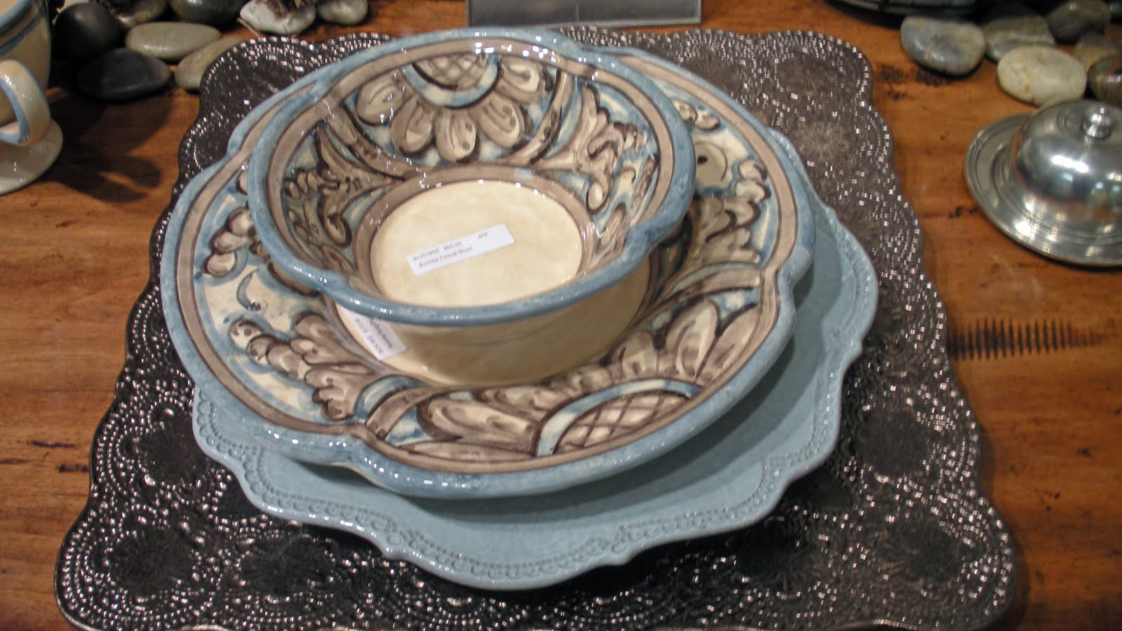 Dress it up for holidays by adding a bronze charger. & Beadboard UpCountry: Arte Italica Fab New Introductions