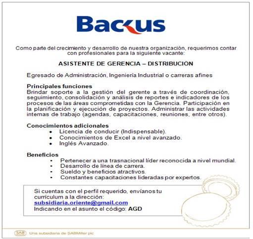 ASISTENTE DE GERENCIA DISTRIBUCIÓN - BACKUS HUÁNUCO - EMPLEOS EN HUÁNUCO