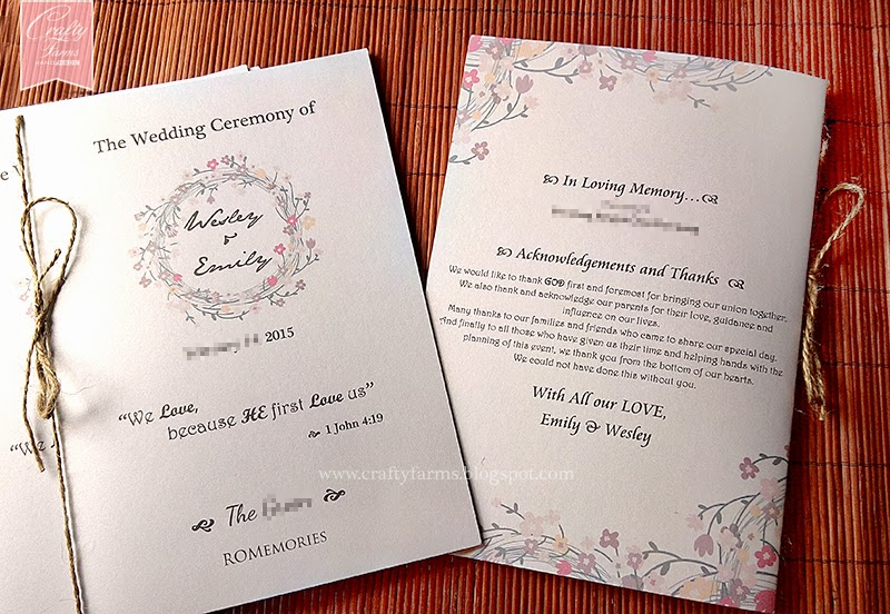 Garden Church Ceremony Program Bulletin Malaysia and Singapore