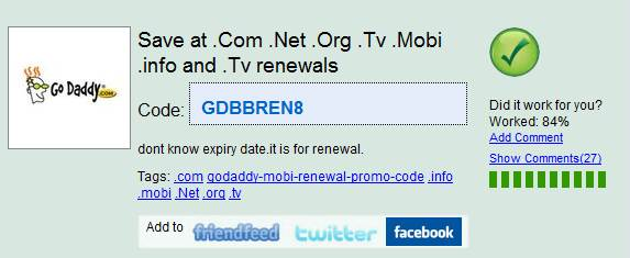 Godaddy .Mobi Renewal Promo Codes