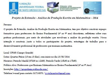 Projeto de Extensão - Análise da Produção Escrita em Matemática - 2014