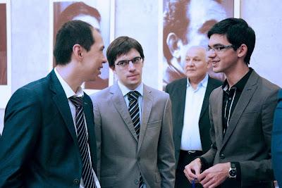 Kasimdjanov, MVL et Giri au tournoi d'échecs de Tashkent - Photo © Anastasia Karlovich