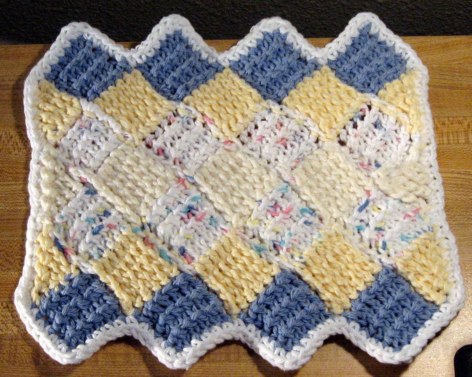 Loops and Ramblings: Entrelac Dishcloth or Washcloth