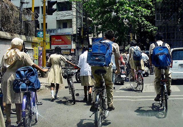 school kids on bikes