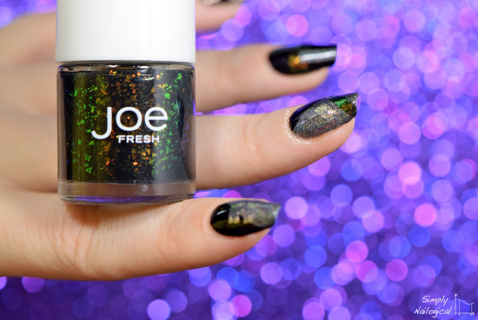 Simply Nailogical: Badass black, holo and flakie colour-block ...