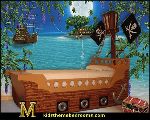 Decorating theme bedrooms maries manor pirate bedrooms pirate themed furniture nautical - Wall decor murals ...