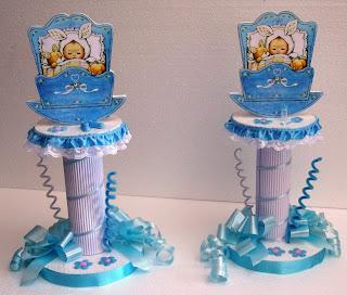 Centro de Mesa para Baby Shower o Bautizo con bellos y delicados