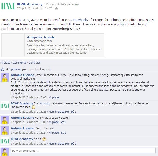Commento bewe academy gruppi facebook