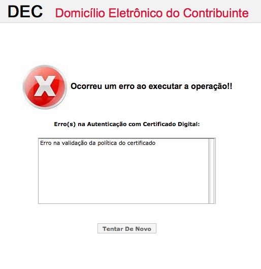 Mensagem de erro ao tentar acessar o DEC com certificado A1.