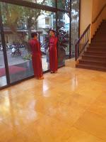 Vietnamese girls wearing Vietnamese traditional dress Ao Dai