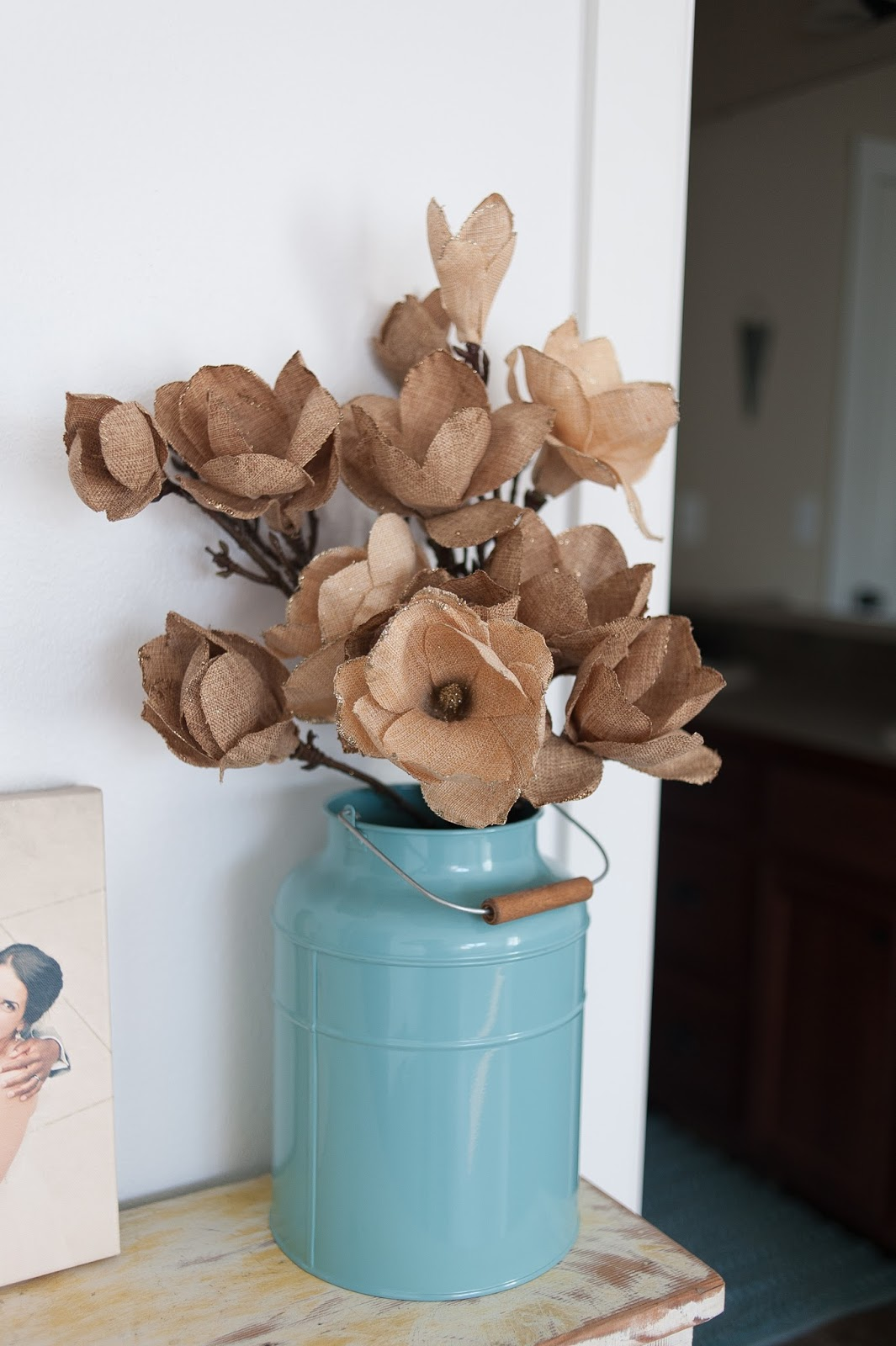 Burlap Flowers in Vintage inspired milk can