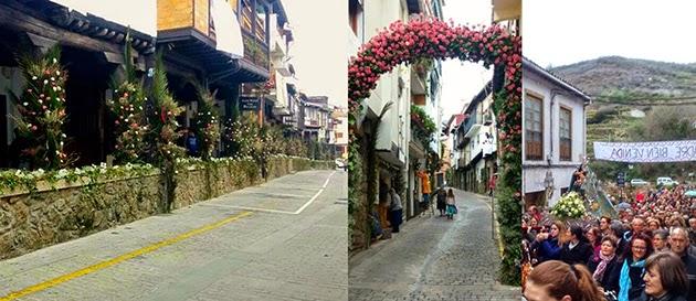 Calles de Cabezuela del Valle engalanadas reciben a su patrona. Imágenes cortesía de Valle del Jerte Radio.