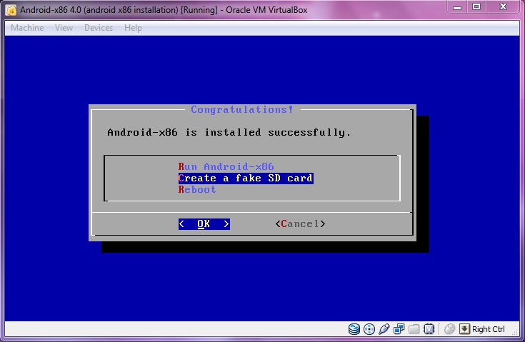 VirtualBox - Android-x86 Create fake SD card