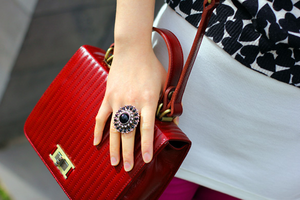 Forever new ring and mouche red doctor bag