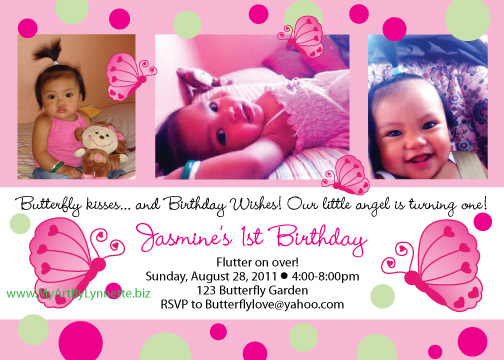 3 photo Butterfly birthday party invitations – Butterfly Birthday Party Invitations