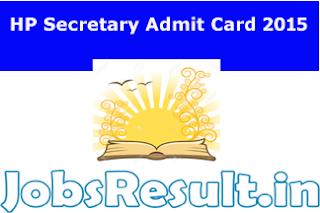 HP Secretary Admit Card 2015