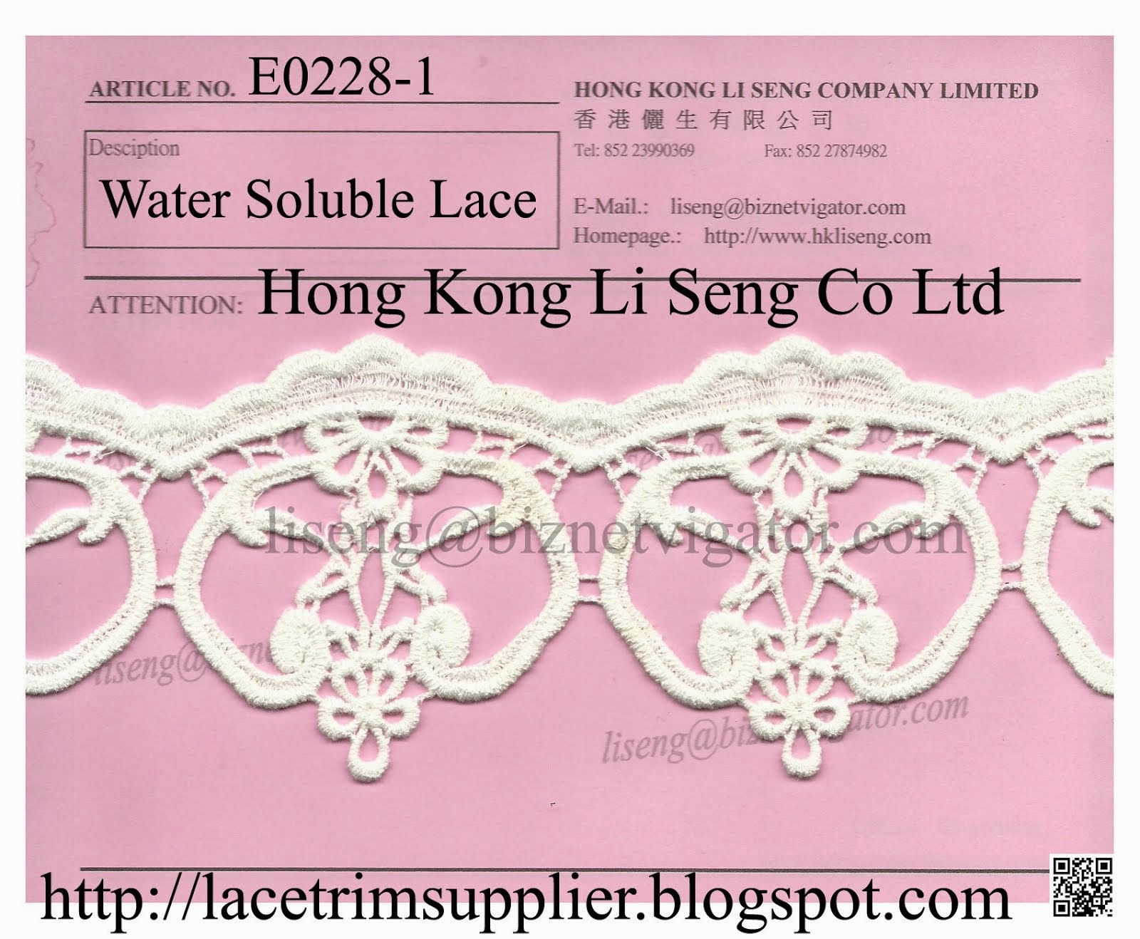 New Lace Pattern - Water Soluble Cotton Lace