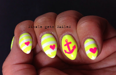 Neon Yellow and Pink Nautical Nail Art