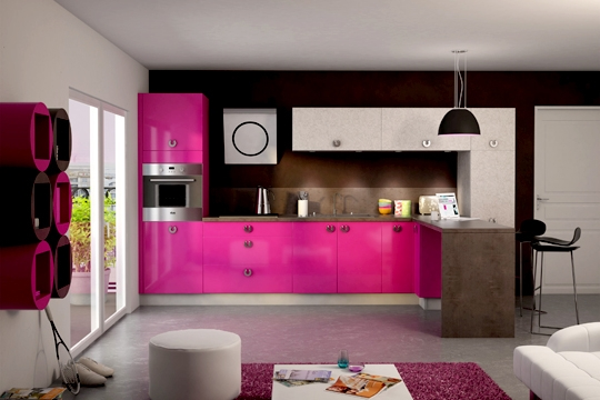 Le rose en cuisine id e d co - Meuble de cuisine rose ...