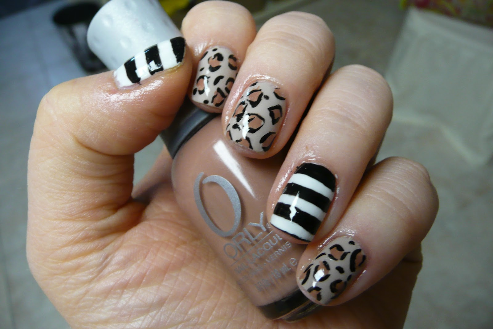 NOTD — Stripes and Leopard Print