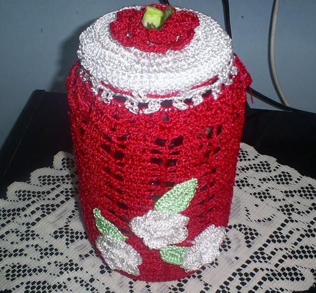 Espaço da Criatividade Encantado : Pote de vidro decorado com crochê