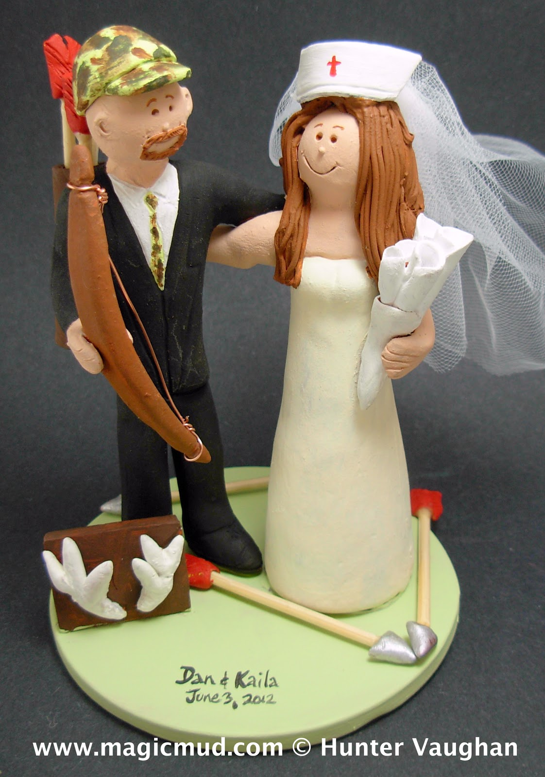 Nurse Marries Bow Hunter Wedding Cake Topper