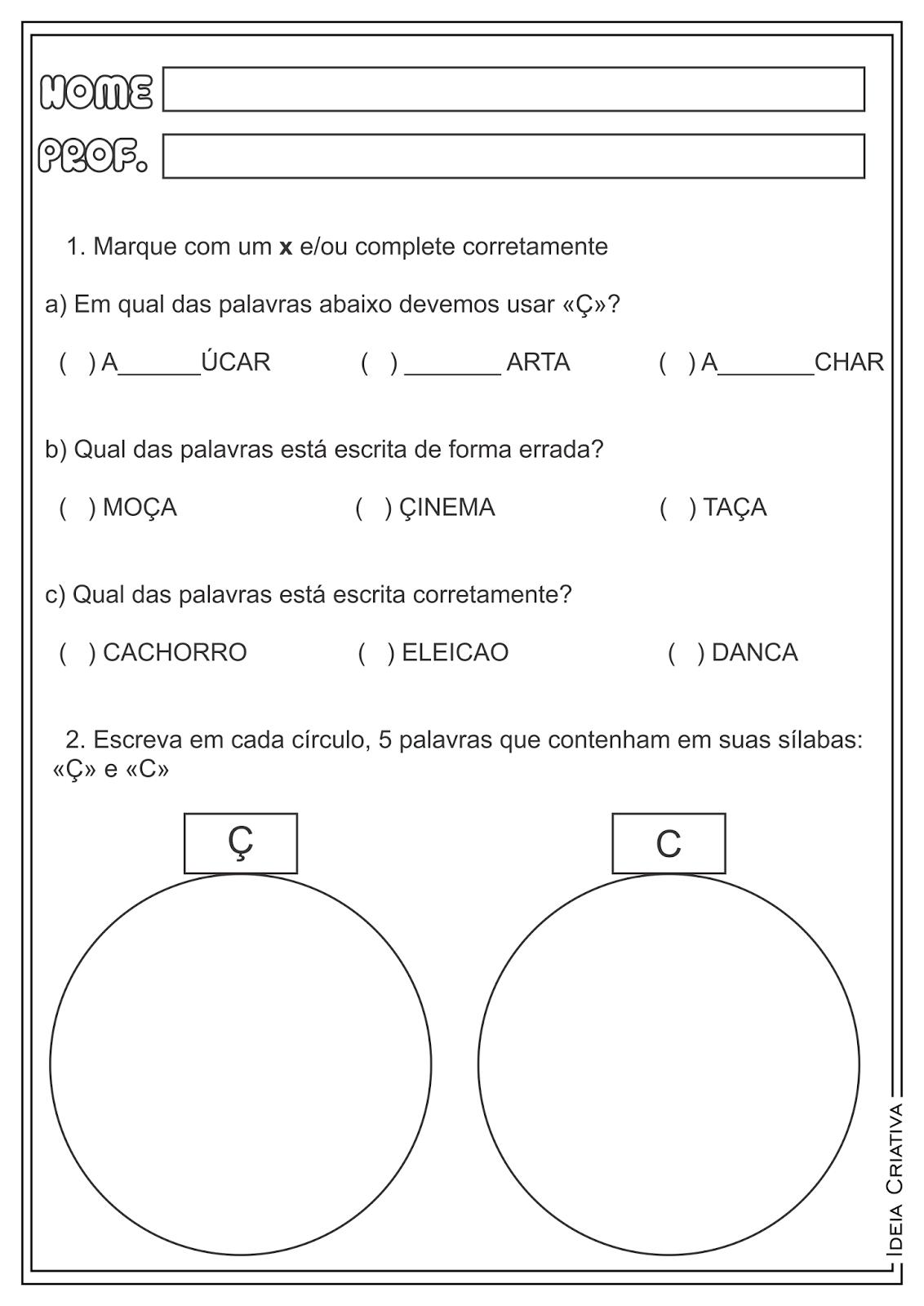 Atividades Trabalhando Ç e C Ortografia para Ensino Fundamental