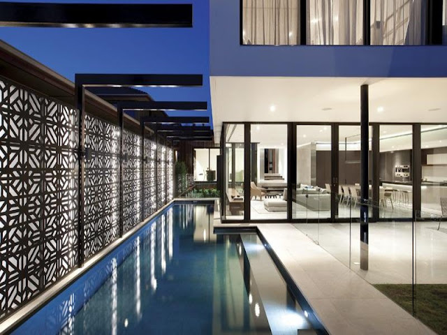 Photo of outdoor pool and the terrace of amazing modern home in Melbourne