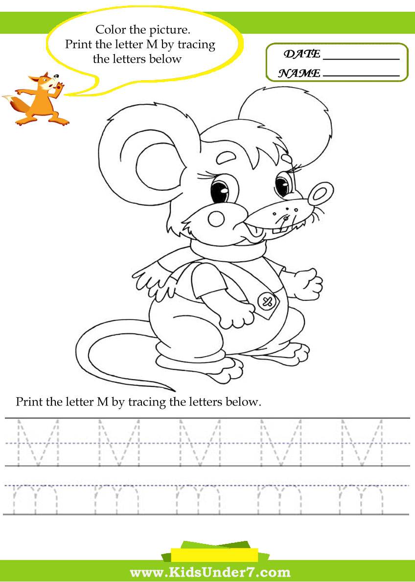 Kids Under 7 Alphabet worksheetsTrace and Print Letter M – Letter M Worksheets for Kindergarten