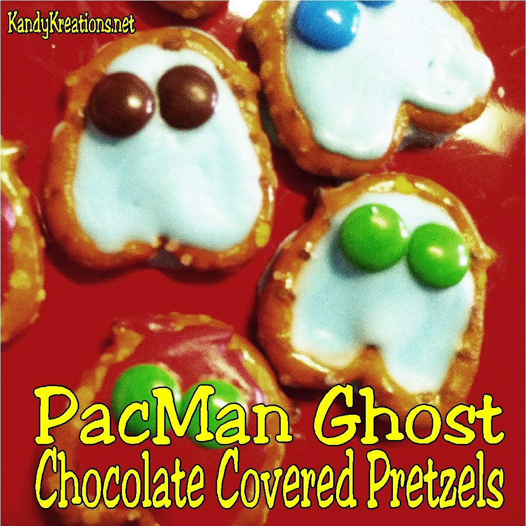 Gobble up those Pac Man Ghost with these yummy Chocolate Covered Pretzels.  These are quick and easy treats for your Video Game or Arcade party using chocolate melts, mini pretzels, and mini M&Ms.