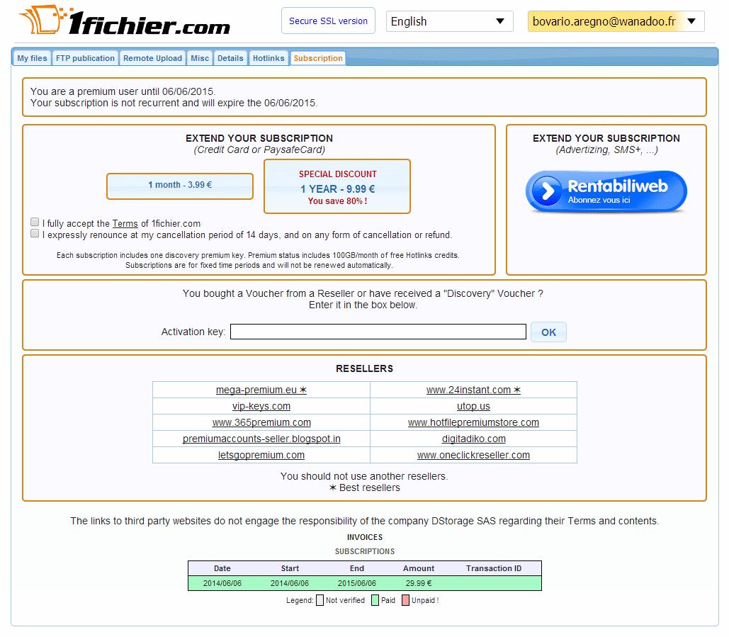 free 1fichier premium account