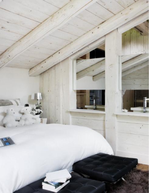 habitación estilo nordico madera blanca