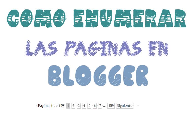 Como numerar las paginas en blogger