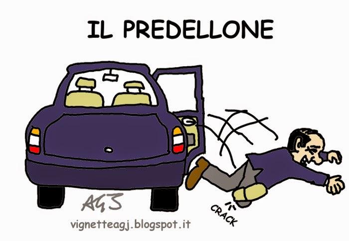 Berlusconi, malleolo, satira , vignetta