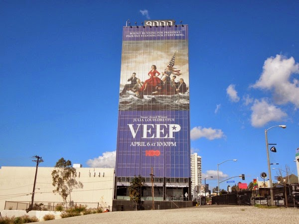 Giant Veep season 3 billboard Sunset Strip