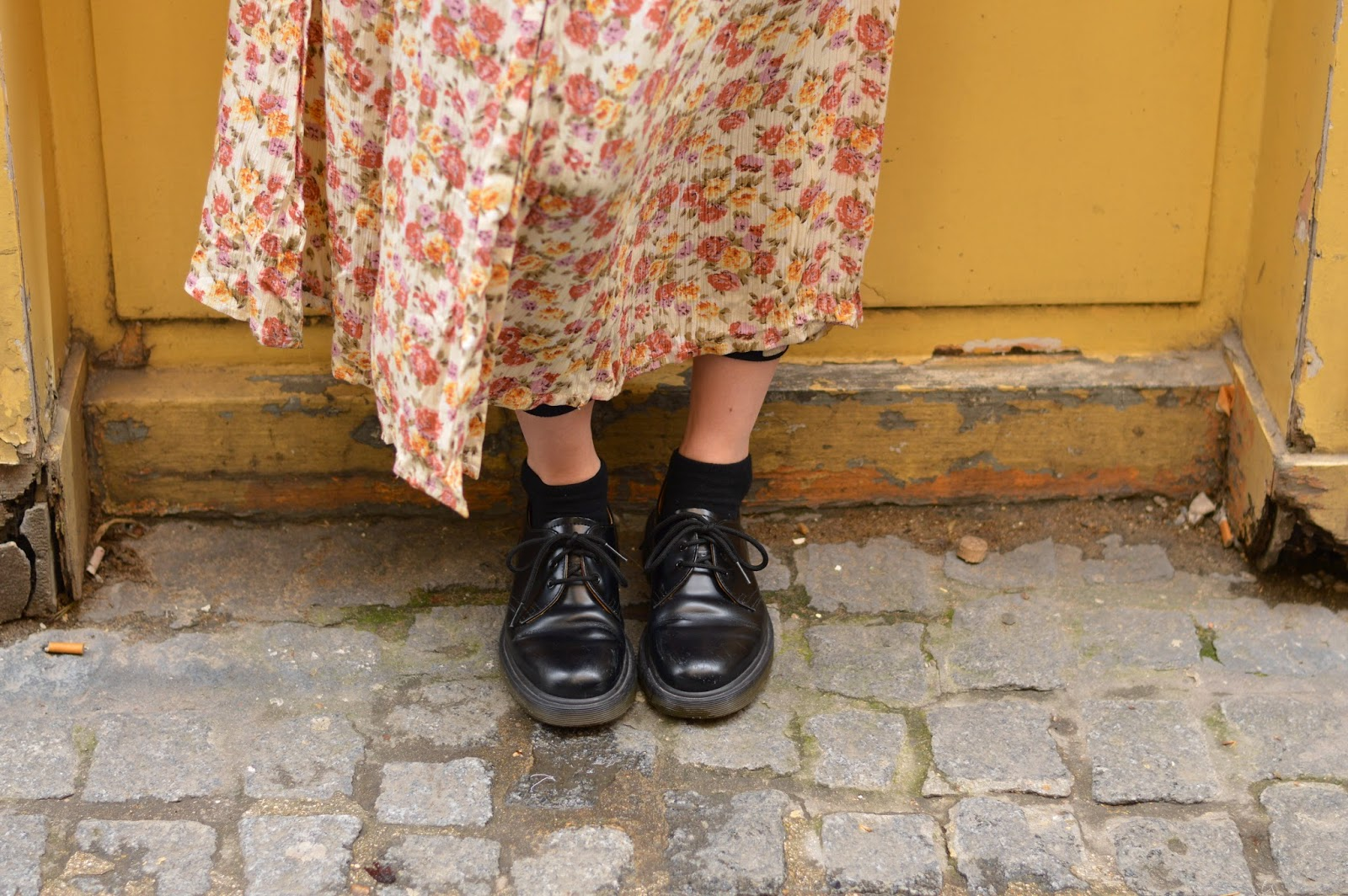 Style Dr Martens shoes with a floral summer dress