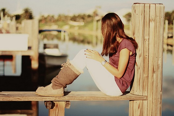 Sad, girl, alone, river, waiting, someone   Inspiring Pictures