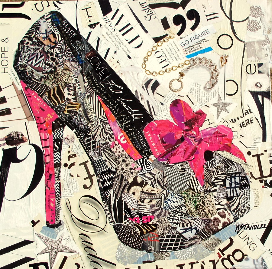 nancy standlee fine art high heel torn paper painting