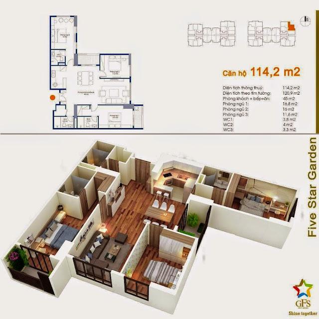 Diện tích căn hộ 114,2m2 Five Star