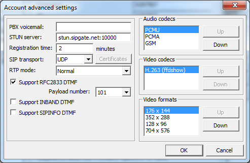 3CXPhone Advanced Settings for Sipgate