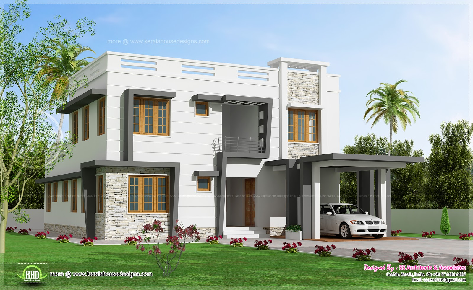 2450 modern villa design kerala home design and